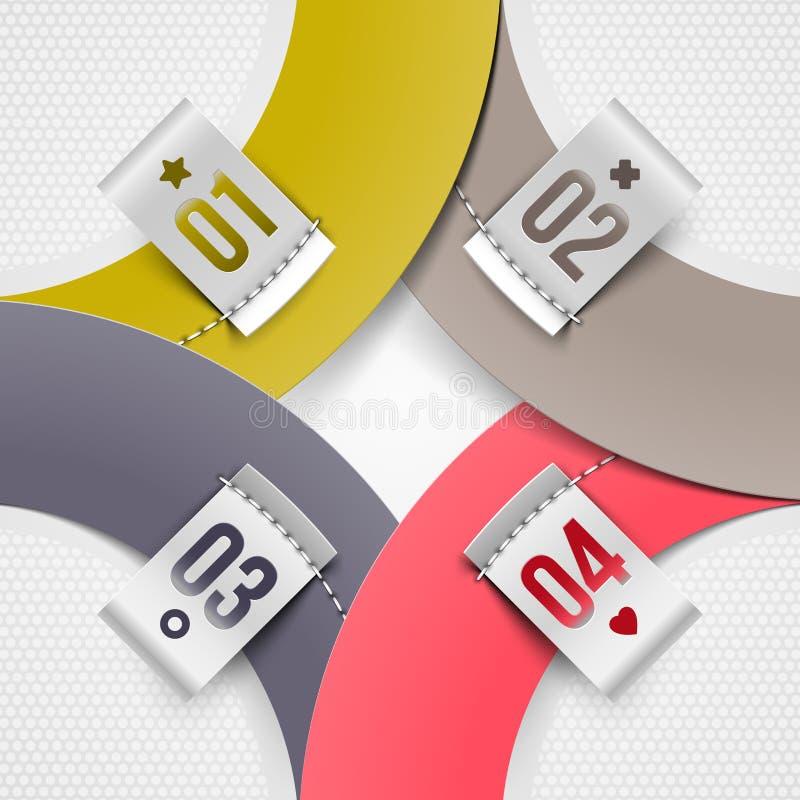 Infographics Papierelemente mit nummerierten Kennsätzen stock abbildung