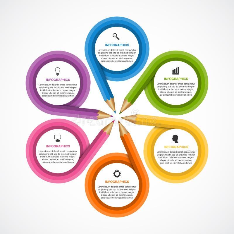 Infographics para a bandeira das apresentações ou da informação do negócio Lápis em um círculo ilustração stock