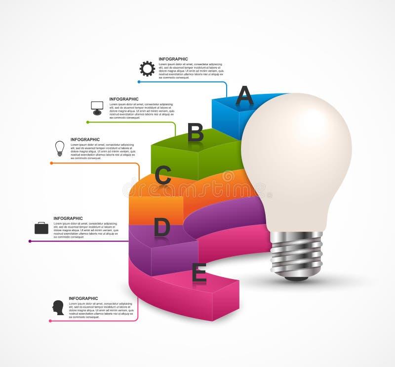 Infographics para a brochura das apresentações ou de informação do negócio Ampola da ideia com um diagrama ilustração royalty free