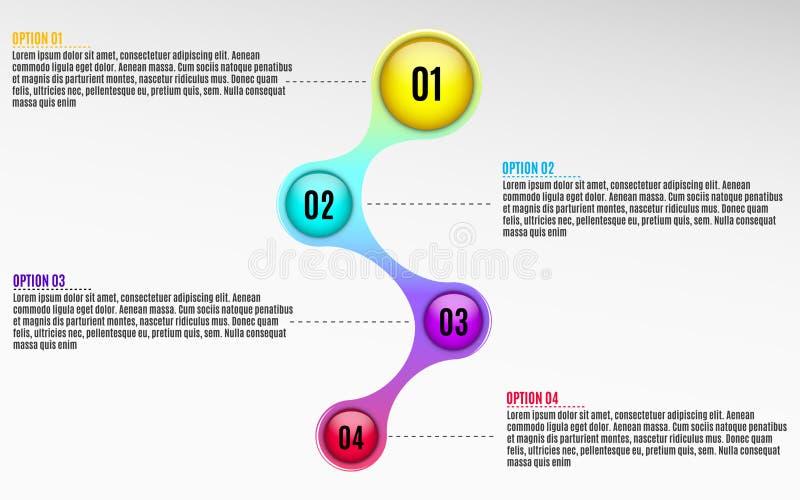 Infographics para los proyectos del negocio Diagrama brillante en el estilo 3d Colores multicolores Bolas volumétricas, brillante ilustración del vector