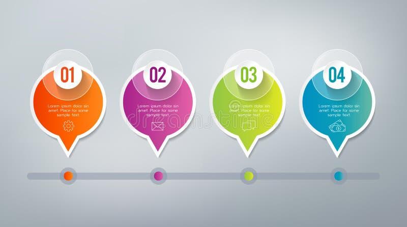 Infographics - 4 pasos stock de ilustración