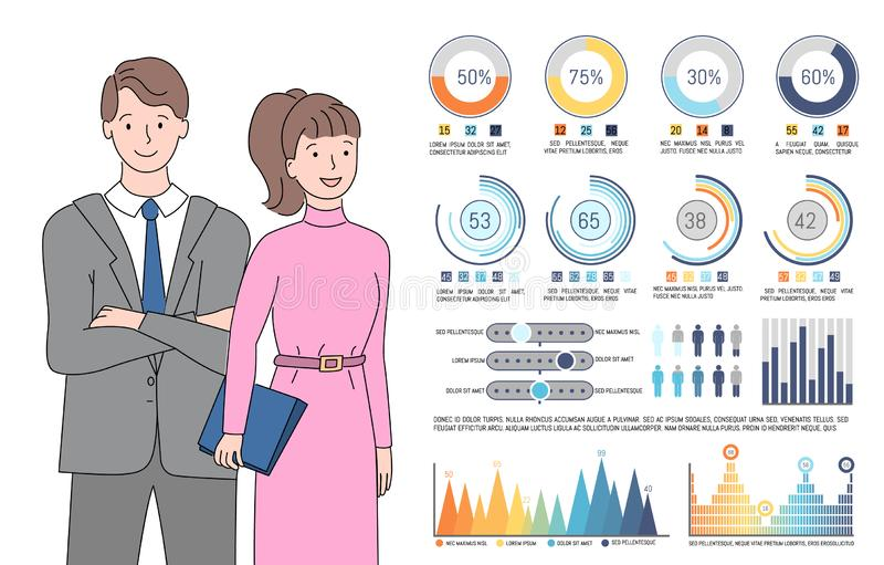 Infographics and People Dressed Formally Vector. Infochart man and woman vector, people looking at visualized information, lady wearing dress and male in suit stock illustration