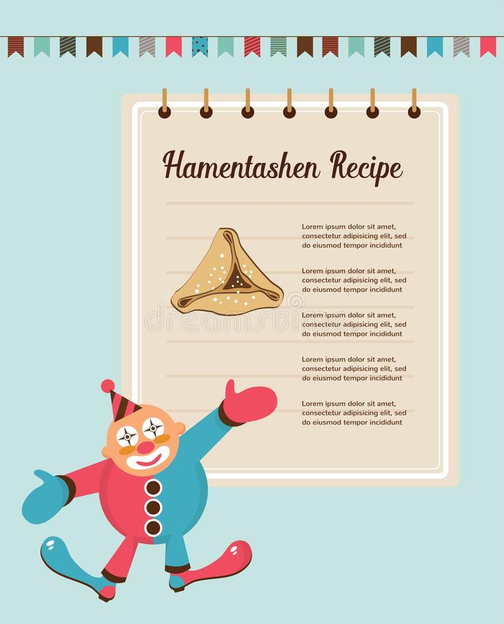 Infographics of perfect Hamantaschen for Jewish holiday Purim stock illustration