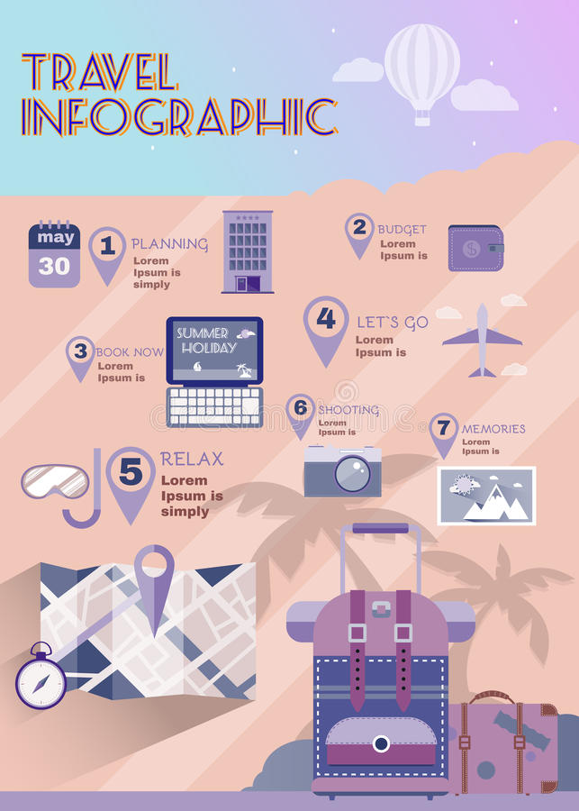 Infographics piano di estate del pianificatore di vacanza royalty illustrazione gratis