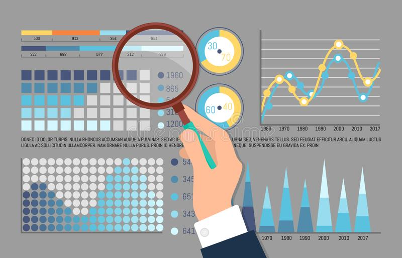 Infographics and Pie Diagrams Analysis by Man. Vector. Magnifying glass and zoomed details of charts and schemes, flowcharts statistics visual data vector illustration