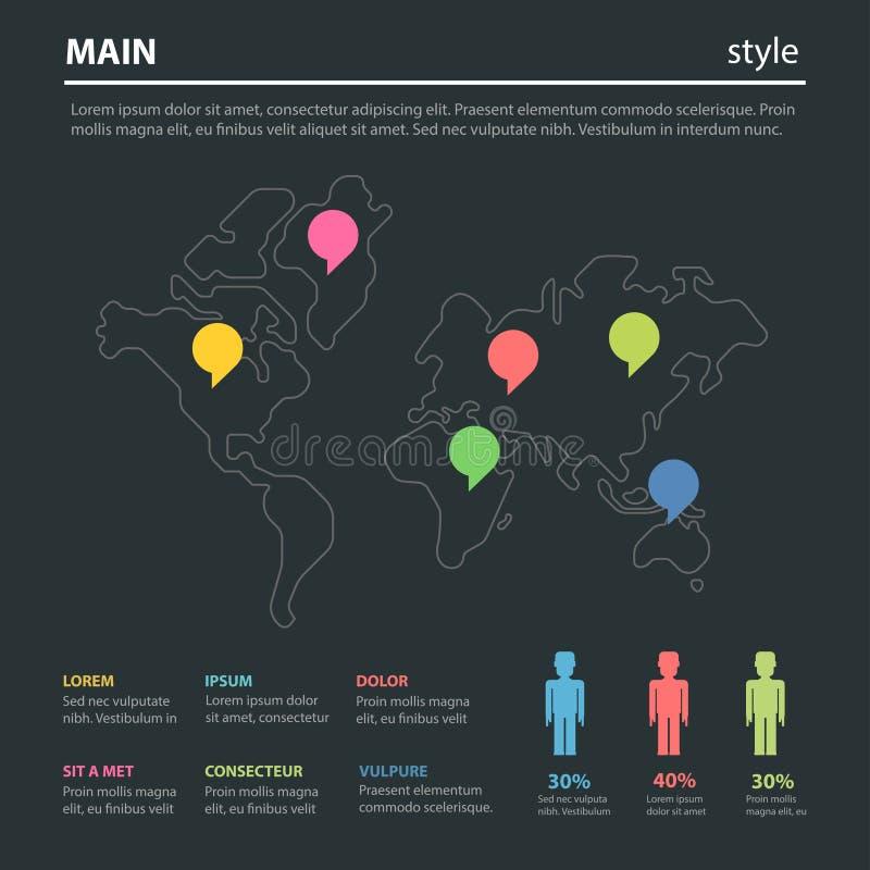 Infographics plano de comercialización del vector del mapa del mundo social del grupo principal libre illustration