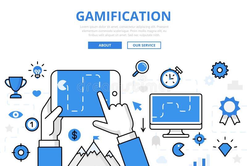 Infographics plano linear de GAMIFICATION stock de ilustración