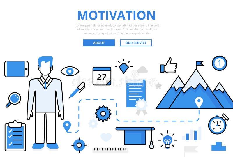 Infographics plano linear de los logros de la MOTIVACIÓN ilustración del vector