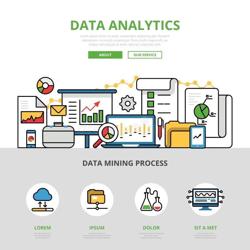 Infographics plano linear v del analytics de los datos de negocio stock de ilustración