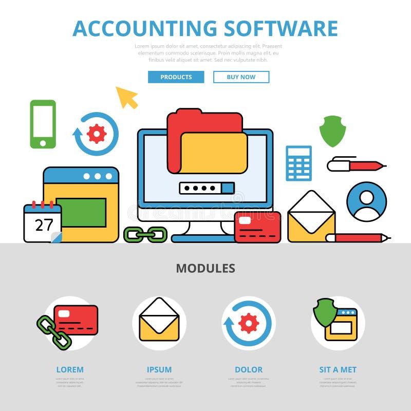 Infographics plano linear v del app de los programas informáticos de contabilidad  libre illustration