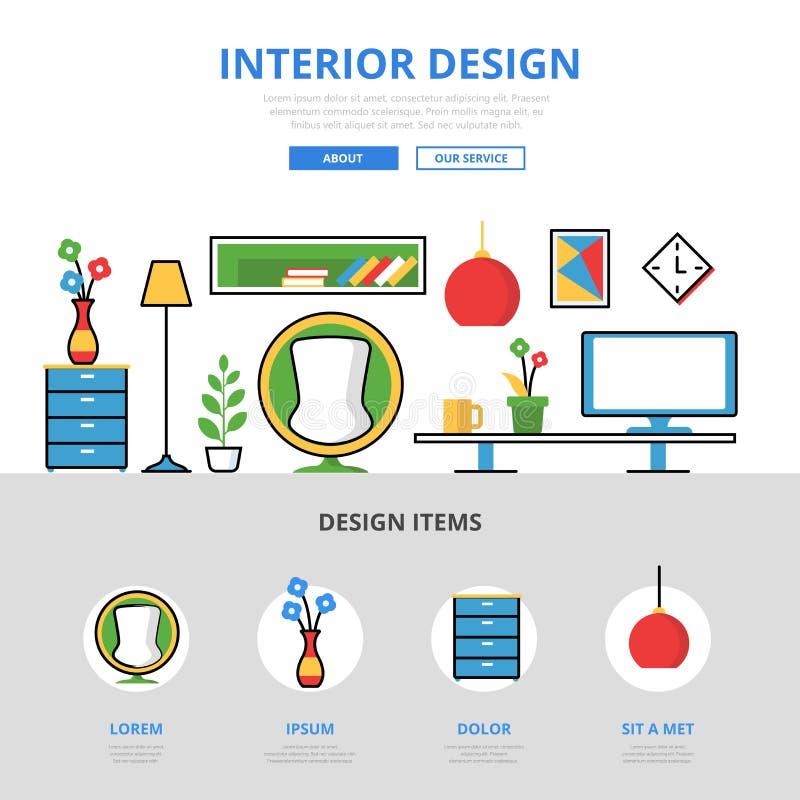 Infographics plat linéaire IL de conception intérieure illustration stock