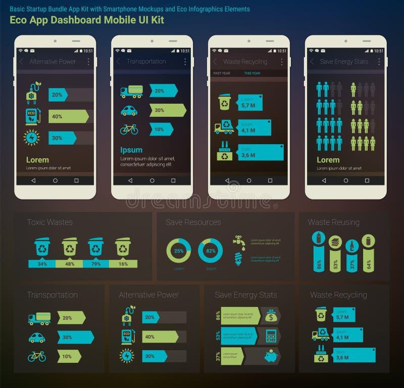 Infographics plat UI APP mobile d'Eco New Energy de tableau de bord d'Admin de conception illustration de vecteur