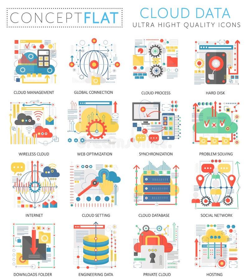 Infographics pojęcia chmury dane mini ikony dla sieci Premii ilości koloru projekta sieci grafika konceptualne płaskie ikony royalty ilustracja