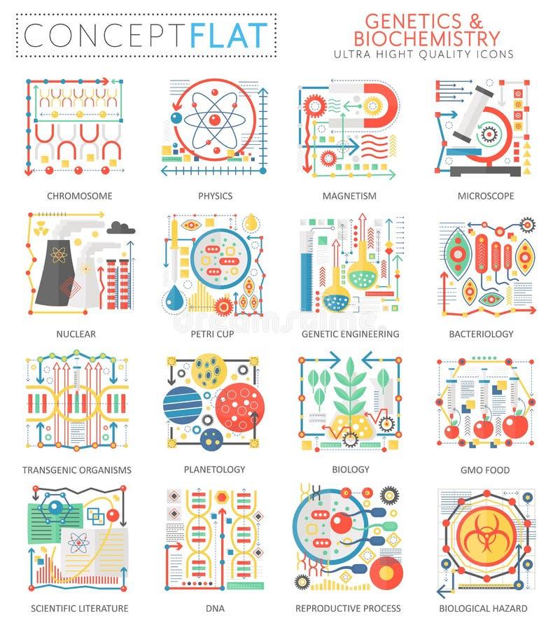 Infographics pojęcia genetyka biochemii mini ikony dla sieci Premii ilości koloru projekta sieci konceptualne płaskie grafika ilustracji