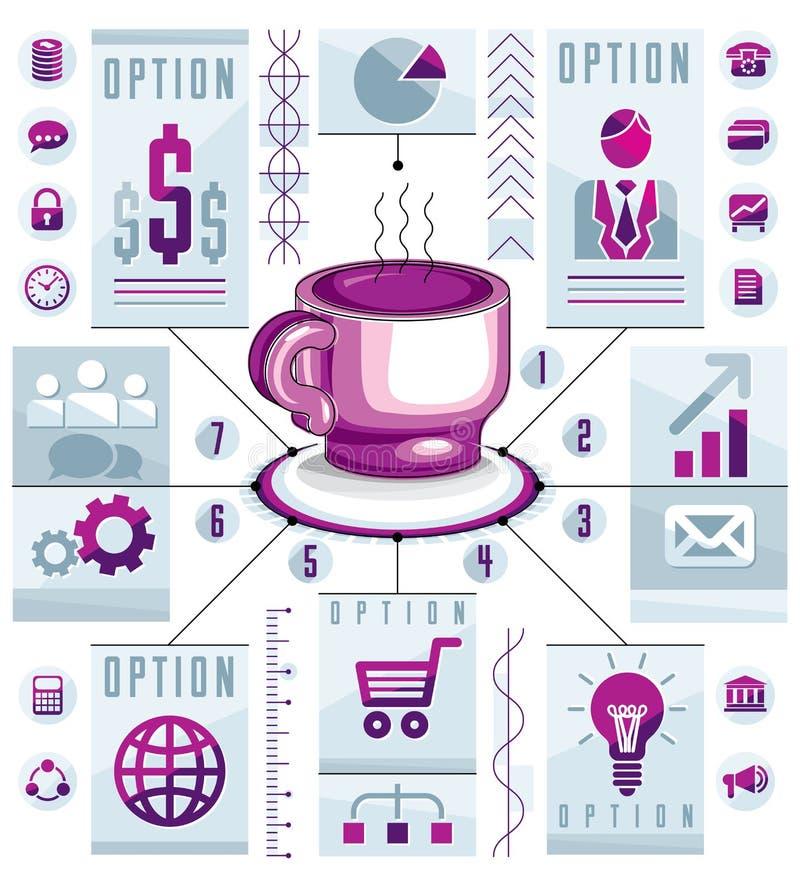 Infographics pojęcia kółkowa filiżanka trójnik, 3d rysuje ewidencyjnej prezentacji pomysł, wektorowa ilustracja ilustracja wektor