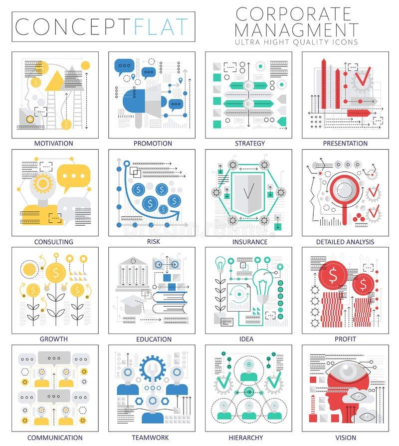 Infographics pojęcia korporacyjnego zarządzania mini ikony dla sieci ilustracji