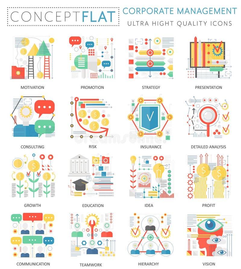 Infographics pojęcia korporacyjnego zarządzania mini ikony dla sieci Premii ilości koloru projekta sieci konceptualne płaskie gra royalty ilustracja