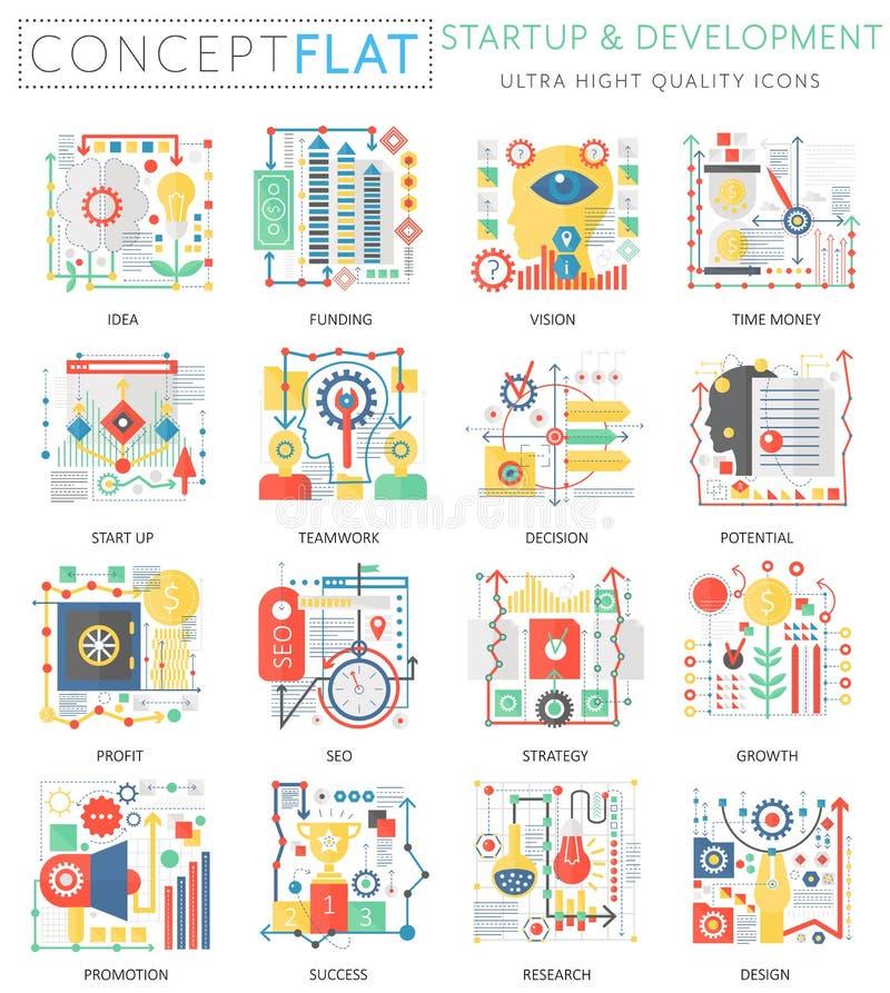 Infographics pojęcia mini rozpoczęcie i rozwój, komputerowe ochron ikony dla sieci Premii ilości kolor konceptualny ilustracja wektor