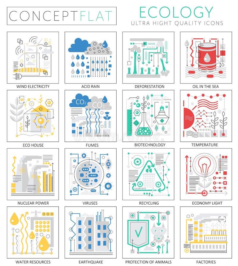 Infographics pojęcia zieleni ekologii mini ikony dla sieci Premii ilości projekta sieci grafika ikon elementy ekologia royalty ilustracja