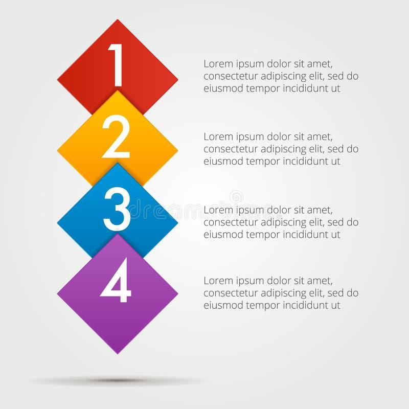 Infographics ponto por ponto em uma série de quadrados, composição vertical Elemento da carta, gráfico, diagrama com 4 opções ilustração royalty free