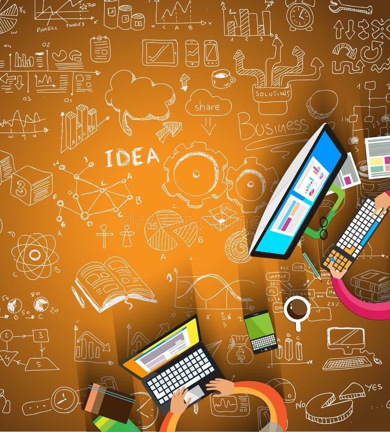 Infographics praca zespołowa z Biznesowym doodles nakreślenia tłem: ilustracji
