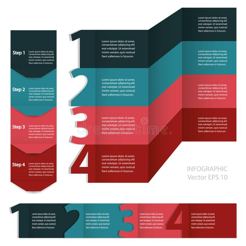 Infographics. Process chart module. Template for linear diagram, graph or presentation royalty free illustration