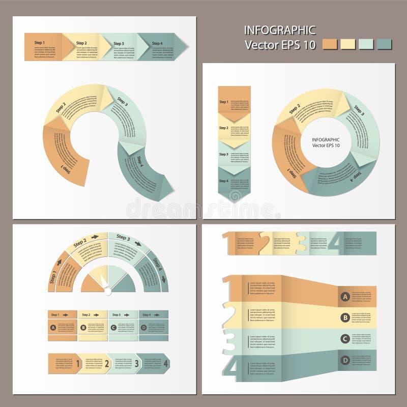 Process chart module. Infographic set. Infographics. Process chart module. Template for cycling diagram, graph, presentation and round chart stock illustration