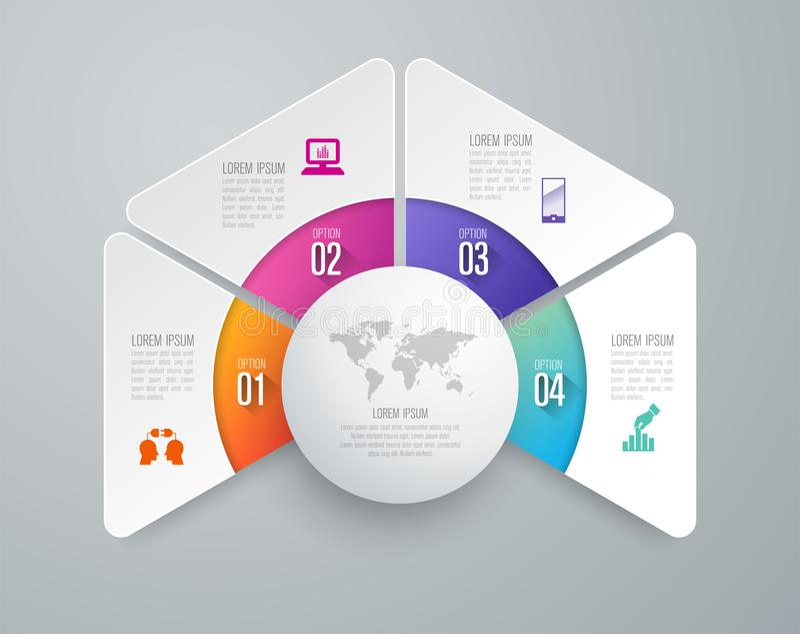 Infographics projekta wektorowe i biznesowe ikony z 4 opcjami ilustracji