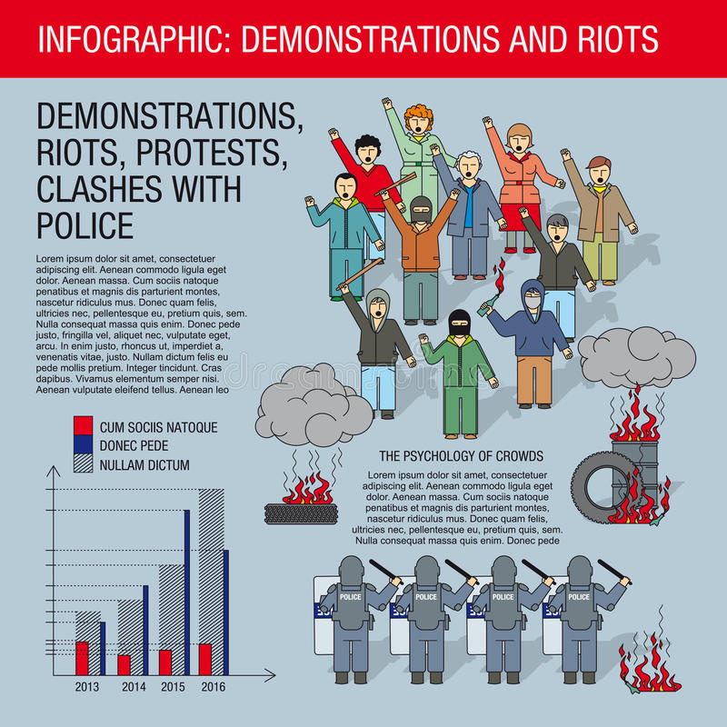 Infographics: protests and riots. royalty free illustration
