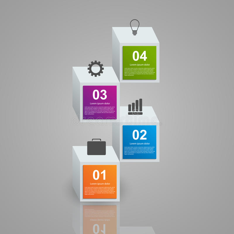 Infographics que consiste nos cubos 3d coloridos realísticos Elementos do projeto ilustração stock