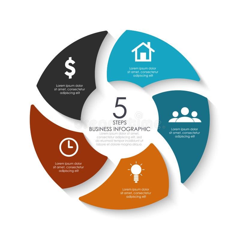 Infographics redondo del vector Plantilla para el diagrama, el gráfico, la presentación, el diseño web y la carta del círculo stock de ilustración