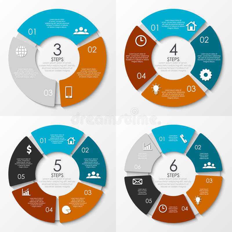 Infographics redondo do vetor Molde para o diagrama do círculo ilustração do vetor