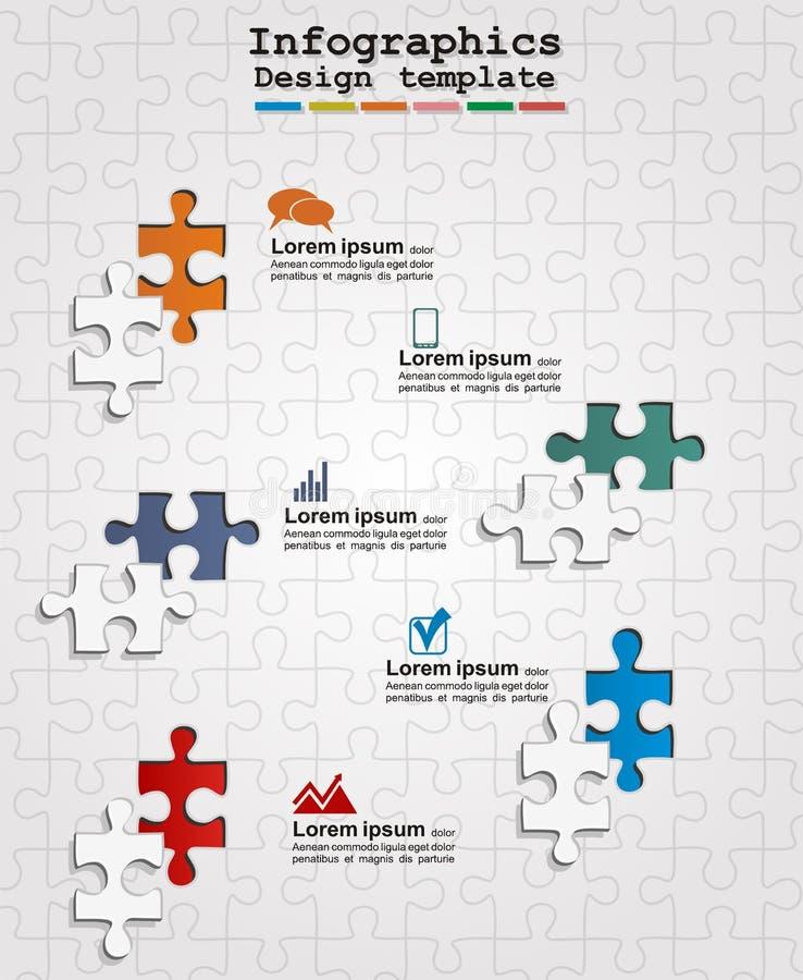 Infographics rengöringsdukdesign med pusslet vektor royaltyfri illustrationer