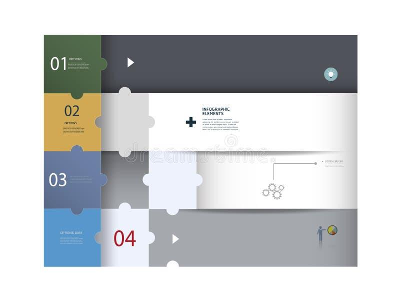 Infographics rengöringsdukdesign Modern pusselmall stock illustrationer