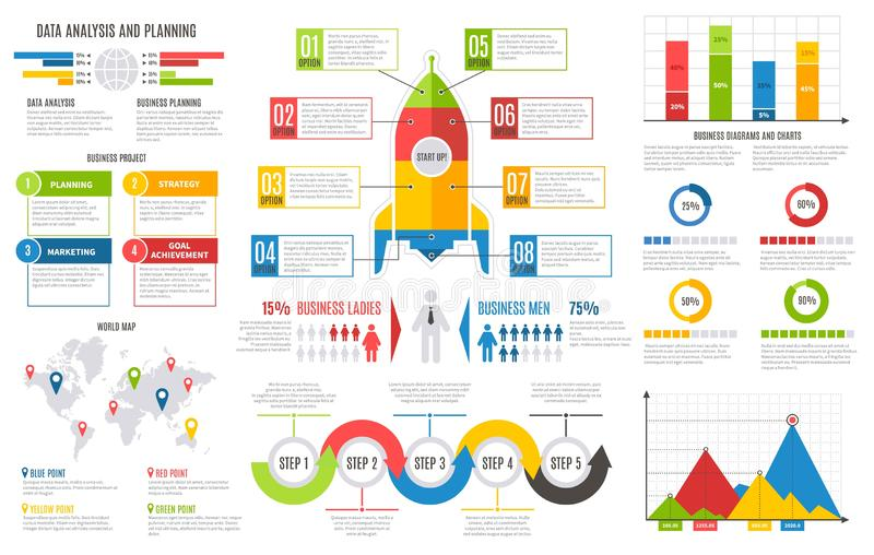 Infographics report. Financial charts diagrams bar chart graph business user interface design vector presentation royalty free illustration
