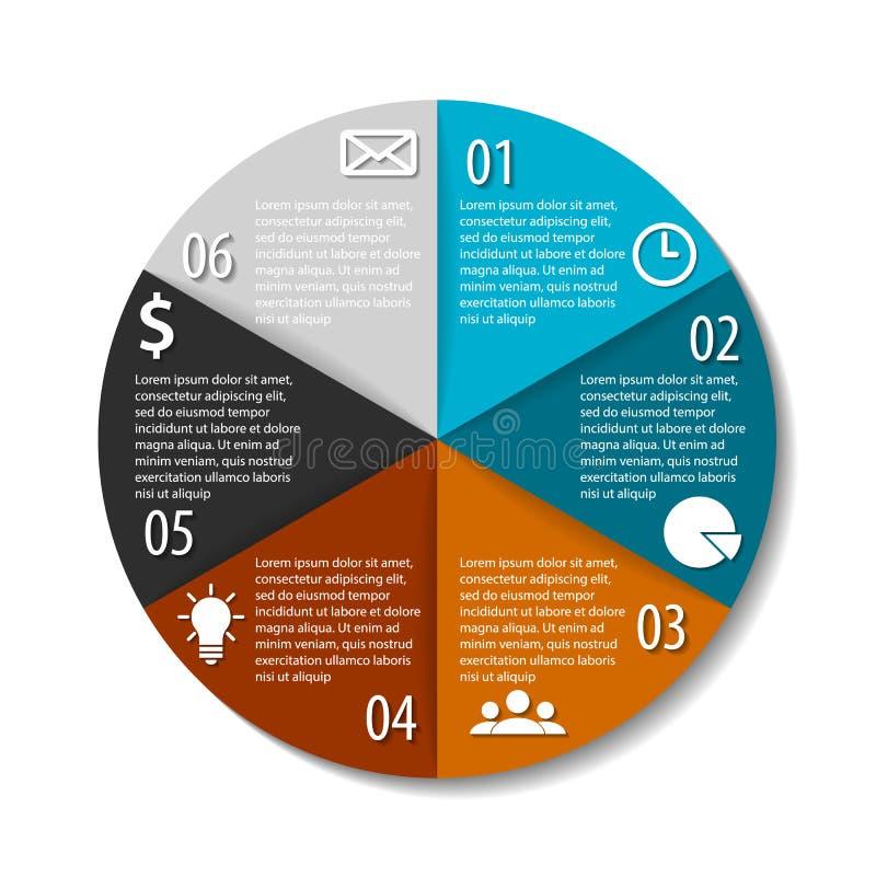 Infographics rotondo di vettore Modello per il diagramma circolare, il grafico, la presentazione, il web design ed il grafico illustrazione di stock