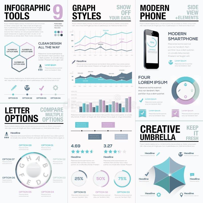 Infographics roxo Elementos, barras e gráficos do vetor do negócio ilustração do vetor