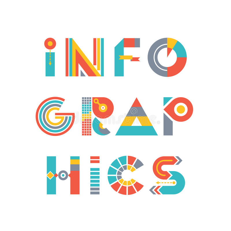 Infographics - słowo logo Podpisuje wewnątrz mieszkanie styl ilustracja wektor