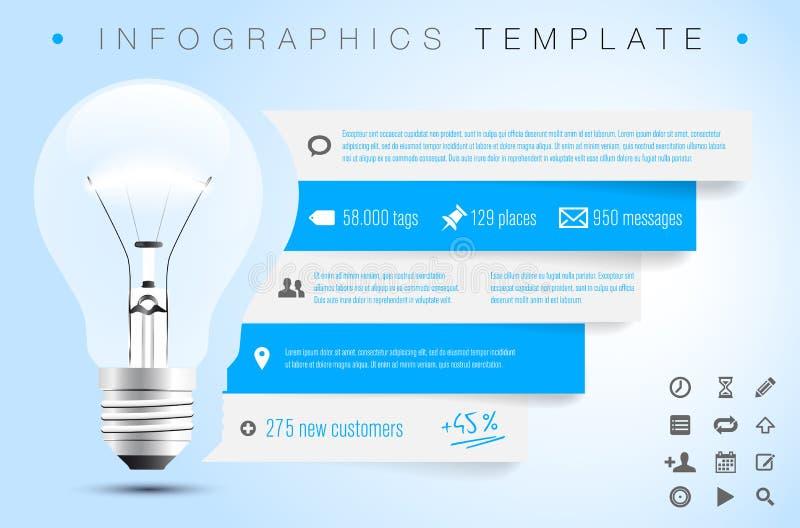 Infographics-Schablone mit Birne, Ikonen und Probe simsen lizenzfreie abbildung