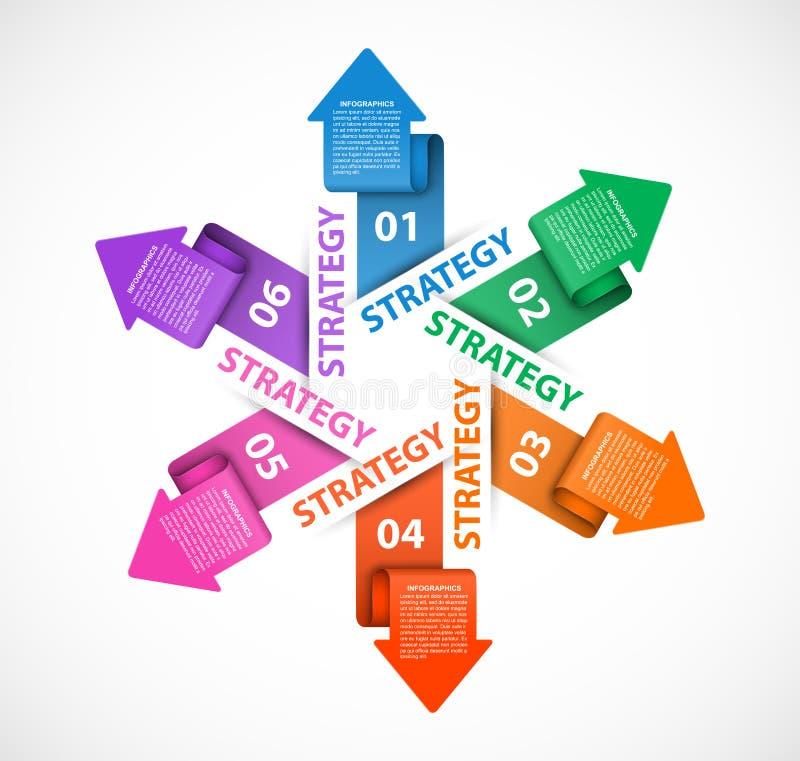 Infographics-Schablone mit Pfeilen durch Kreis Infographics für Geschäftsdarstellungs- oder -informationsfahne vektor abbildung