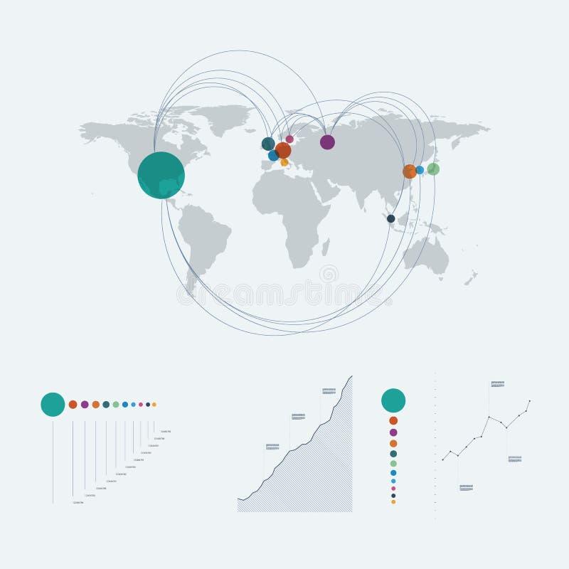 Infographics-Schablone mit Weltkarte und Linie Kunstdiagramme, Diagramme Datenberichts-Darstellungsplan stock abbildung