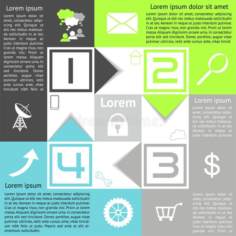 Infographics schackbrädealternativ fyra val med pilar stock illustrationer