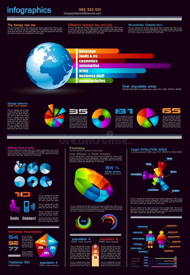 Infographics Seite mit vielen Auslegungelementen vektor abbildung
