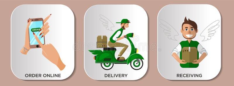 Infographics-Serviceauslieferungskurier On-line-Einkaufsstadien lizenzfreie abbildung