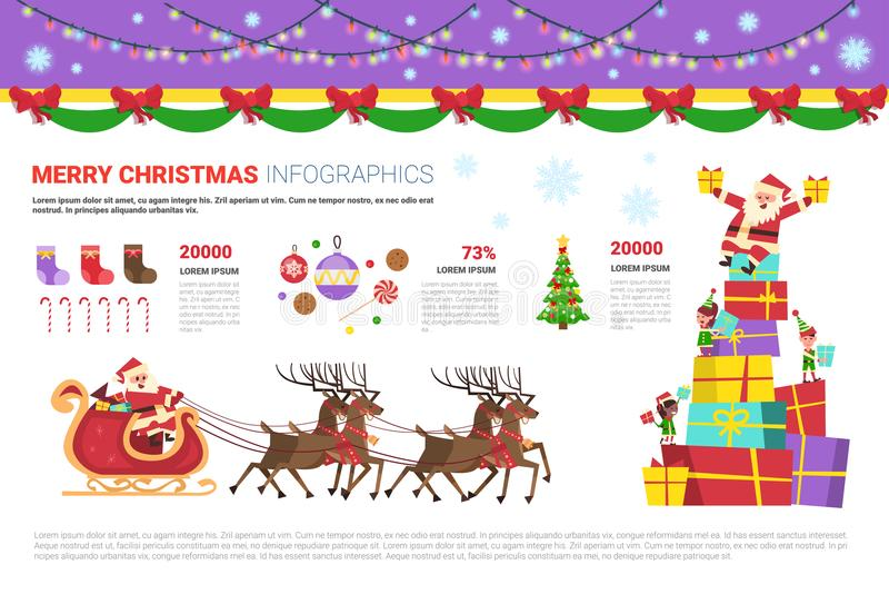 Infographics Set Merry Christmas Concept With Santa, Pine Tree, Reindeers Holiday Elements Decoration Banner Design royalty free illustration