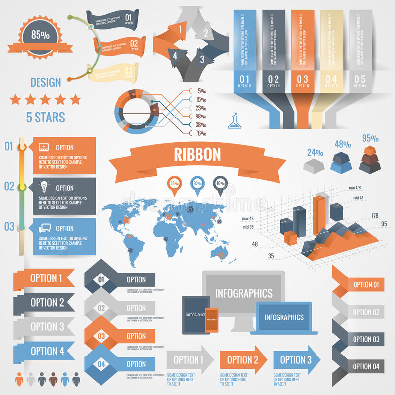 Infographics set with options. Business icons and charts circle origami style. Vector illustration. Diagram, web design. royalty free illustration