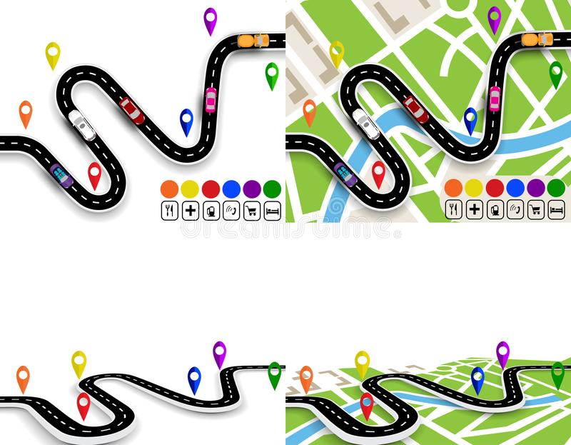 Infographics Sikt från ovannämnt och i perspektiv Uppsättning av slingriga vägar med tecken Översikter av staden Rörelse av stock illustrationer
