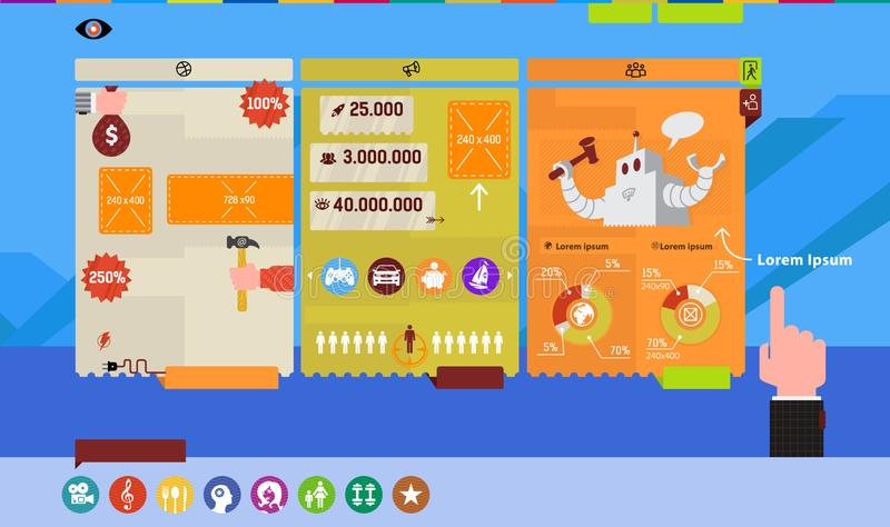 Infographics for the site and presentation. Vector image in a flat style. Vector graphics, tables, icons, numbers and. Illustrations for the site and corporate royalty free stock photography