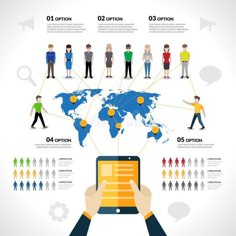 Infographics social de la red stock de ilustración