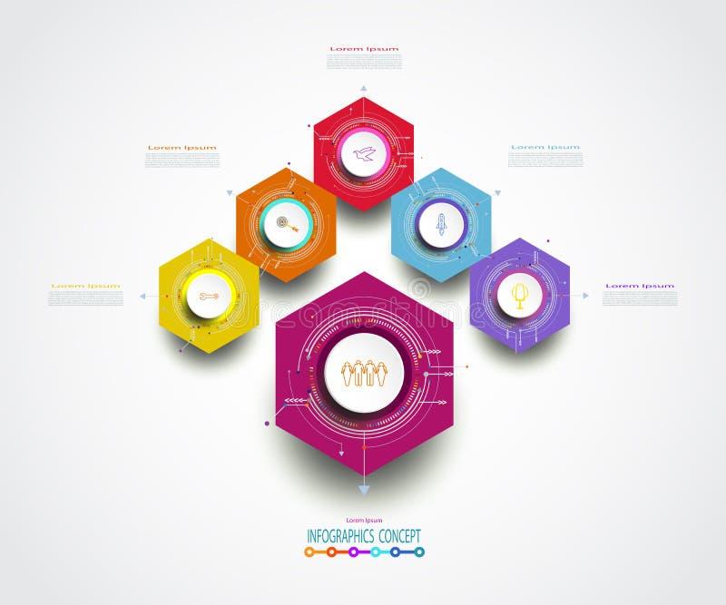 Infographics sottrae l'opzione di esagono 5 del modello o fa un passo illustrazione vettoriale